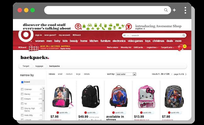 ショッピング例1:バックパックショッピングページ