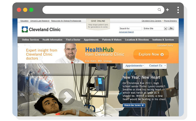 医療例4(最高)病院ページの健康情報