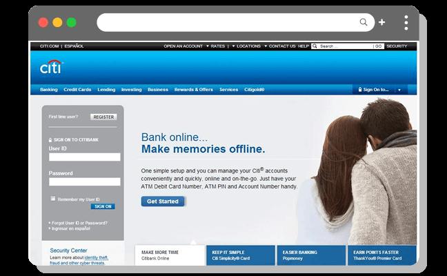 財務例3(最高)オンラインバンキングのログインページ