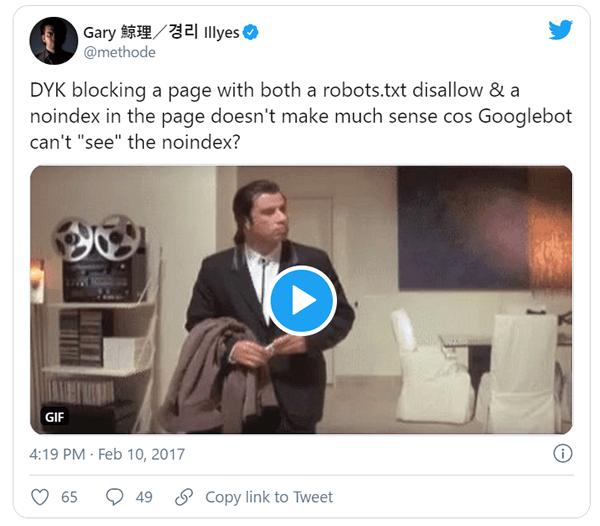 Googleのゲイリー氏がTwitterでツイートしたrobots.txtファイルの内容