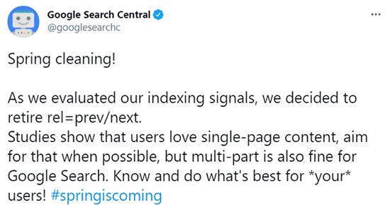 ページネーションタグのインデックスシグナルを2019年3月21日にTwitterで報告し廃止