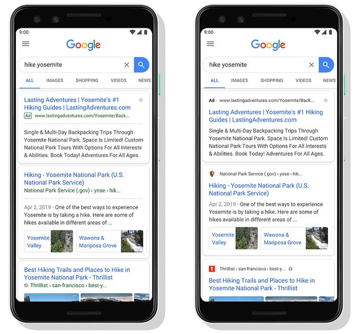 2019年5月:モバイル検索結果でファビコンの表示