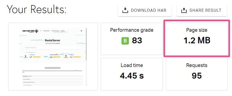 トップページのデータ転送量を計測